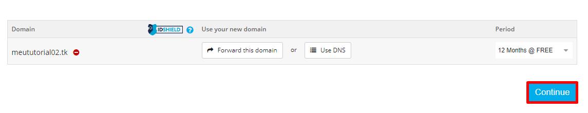 Continuando com o registro do domínio após escolher o ciclo gratuito.
